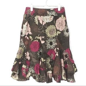 a.n.a Skirt Size 4P 100% Cotton, Brown W Flowers